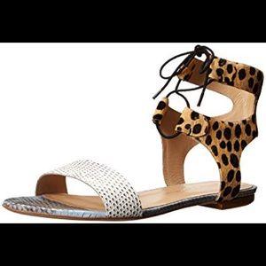 Loeffler Randall Ponyhair + Snake Skin Sandals